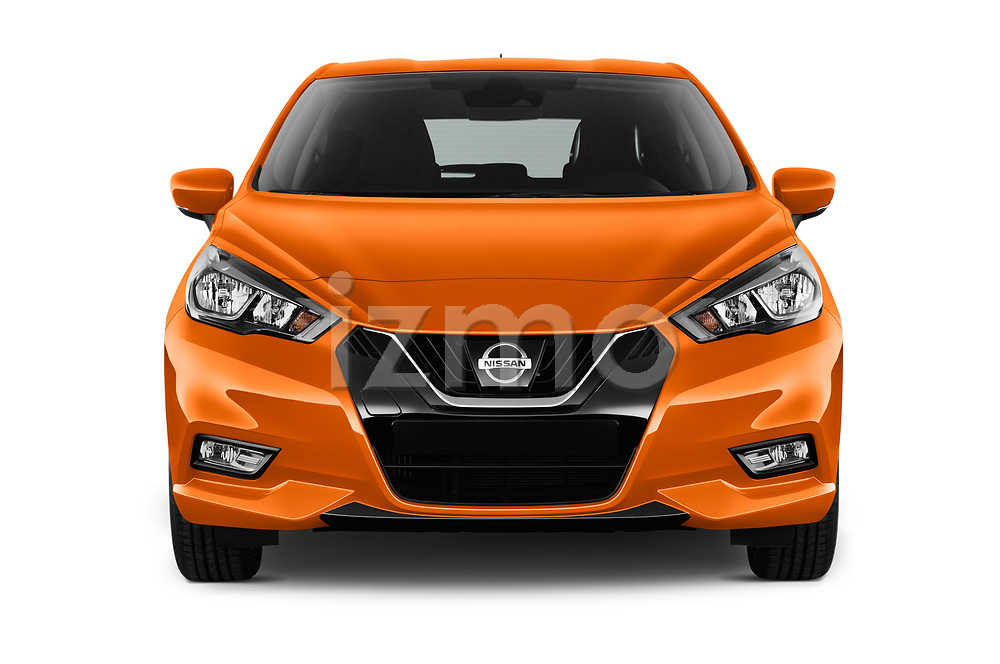 Car photography straight front view of a 2017 Nissan Micra Tekna 5 Door Hatchback Front View