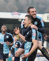 Michael Harriman of Wycombe Wanderers celebrates with goal scorer Luke O'Nien of Wycombe Wanderers during the Sky Bet League 2 match between Wycombe Wanderers and Stevenage at Adams Park, High Wycombe, England on 12 March 2016. Photo by Andy Rowland/PRiME Media Images.