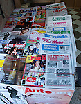 Hanoi, Vietnam, A newstand sells local magazines and newspapers. photo taken July 2008.