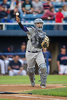 Winston-Salem Dash catcher Omar Narvaez (22) makes a throw to first base against the Salem Red Sox at LewisGale Field at Salem Memorial Ballpark on May 14, 2015 in Salem, Virginia.  The Red Sox defeated the Dash 1-0.  (Brian Westerholt/Four Seam Images)