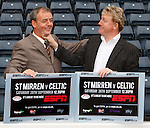 Frank McGarvey and Frank McAvennie at Hampden for ESPN's coverage of the St Mirren v Celtic match this weekend