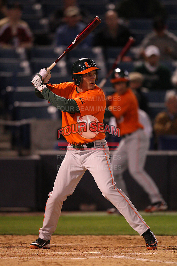 March 2, 2010:  Ryan Perry of the Miami Hurricanes during a game at Legends Field in Tampa, FL.  Photo By Mike Janes/Four Seam Images
