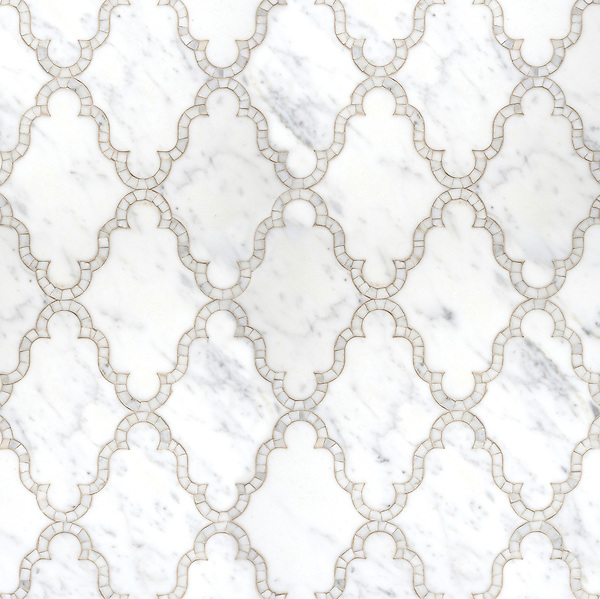 Dervish, a waterjet and hand-cut stone mosaic shown in polished Calacatta Tia, is part of the Silk Road collection by Sara Baldwin for New Ravenna Mosaics. <br />