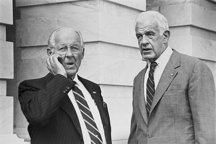 "Sen. Robert Henry ""Bob"" Michel, R- Ill., House Minority Leader and Speaker of the House Rep. Thomas Stephen ""Tom"" Foley, D-Wash spotted talking on the East Front Plaza. October 5, 1992 (Photo by Laura Patterson/CQ Roll Call)"