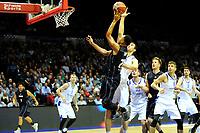 GRONINGEN - Basketbal, Donar - Vitautas, Champions League,  seizoen 2017-2018, 19-09-2017, Donar speler Brandyn Curry met Vytautas  speler  Paulius Ivanauskas