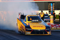 Feb 6, 2015; Pomona, CA, USA; NHRA funny car driver Del Worsham during qualifying for the Winternationals at Auto Club Raceway at Pomona. Mandatory Credit: Mark J. Rebilas-