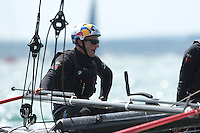 25 July 2015: Jimmy Spithill, skipper Oracle Team USA, after the first race of the America's Cup first round racing off Portsmouth, England (Photo by Rob Munro)