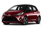 Stock pictures of low aggressive front three quarter view of a 2018 Toyota Yaris Two tone 5 Door Hatchback