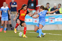 Bridgeview, IL, USA - Saturday, April 23, 2016: Western New York Flash defender Lady Andrade (16) and Chicago Red Stars midfielder Danielle Colaprico (24) during a regular season National Women's Soccer League match between the Chicago Red Stars and the Western New York Flash at Toyota Park. Chicago won 1-0.