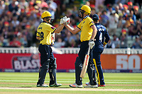 Birmingham Bears' Ed Pollock  is congratulated by team mate Birmingham Bears' Dominic Sibley on reaching his half century<br /> <br /> Photographer Andrew Kearns/CameraSport<br /> <br /> NatWest T20 Blast Semi-Final - Birmingham Bears v Glamorgan - Saturday 2nd September 2017 - Edgbaston, Birmingham<br /> <br /> World Copyright &copy; 2017 CameraSport. All rights reserved. 43 Linden Ave. Countesthorpe. Leicester. England. LE8 5PG - Tel: +44 (0) 116 277 4147 - admin@camerasport.com - www.camerasport.com