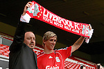 Rafael Benitez unveils Fernando Torres as a Liverpool player following his £26.5m move from Athletico Madrid..Torres has agreed a six-year deal 4 July 2007