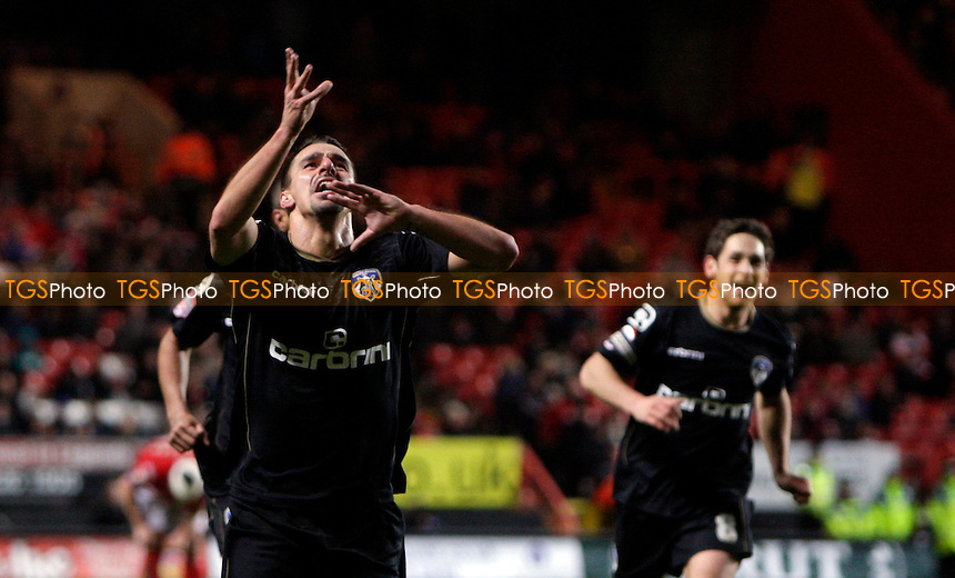 Filipe Morais of Oldham Athletic celebrates the equalising goal, taking Oldham Athletic  to 1-1 - Charlton Athletic vs Oldham Athletic - nPower League One Football at The Valley, London - 17/12/11 - MANDATORY CREDIT: Helen Watson/TGSPHOTO - Self billing applies where appropriate - 0845 094 6026 - contact@tgsphoto.co.uk - NO UNPAID USE.