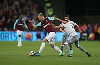 West Ham United's Marko Arnautovic and Manchester United's Phil Jones<br /> <br /> Photographer Rob Newell/CameraSport<br /> <br /> The Premier League - West Ham United v Manchester United - Thursday 10th May 2018 - London Stadium - London<br /> <br /> World Copyright &copy; 2018 CameraSport. All rights reserved. 43 Linden Ave. Countesthorpe. Leicester. England. LE8 5PG - Tel: +44 (0) 116 277 4147 - admin@camerasport.com - www.camerasport.com