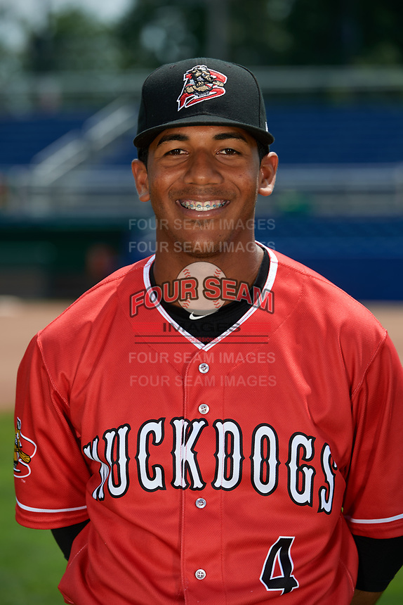 Batavia Muckdogs Pablo Garcia (4) poses for a photo on July 2, 2018 at Dwyer Stadium in Batavia, New York.  (Mike Janes/Four Seam Images)