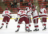 Jimmy Vesey (Harvard - 19), Brian Hart (Harvard - 39), Brayden Jaw (Harvard - 10), Kyle Criscuolo (Harvard - 11), Max Everson (Harvard - 44) - The Harvard University Crimson defeated the Brown University Bears 4-3 to sweep their first round match up in the ECAC playoffs on Saturday, March 7, 2015, at Bright-Landry Hockey Center in Cambridge, Massachusetts.