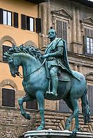 Bronze equestrian statue of Cosimo I located in the Piazza della Signoria, Florence, Italy