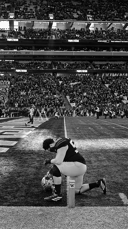 Nick Harris has a quiet moment prior to his final home game.