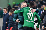 07.11.2019, Borussia-Park - Stadion, Moenchengladbach, GER, EL, Borussia Moenchengladbach vs. AS Roma, UEFA regulations prohibit any use of photographs as image sequences and/or quasi-video<br /> <br /> im Bild Marco Rose (Borussia Moenchengladbach) Marcus Thuram  (#10, Borussia Moenchengladbach) Schlussjubel / Schlußjubel / Emotion / Freude / <br /> <br /> Foto © nordphoto/Mauelshagen