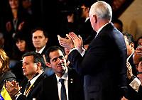 BOGOTÁ – COLOMBIA, 24-02-2019: Mike Pence Vicepresidente de Estados Unidos de América aplaude las palabras de Juan Guaidó, Presidente interino de Venezuela, durante la 11ª reunión de Ministros de Relaciones Exteriores del Grupo de Lima en Bogotá, Colombia. El grupo de 14 miembros de Lima, que incluye a la mayoría de los paises latinoamericanos. Es la primera reunión en la que Venezuela participará como miembro del grupo de Lima, representado por el presidente interino Juan Guaido. / Mike Pence Vice President of the United States of America applauds the words of Juan Guaido, during the 11th Lima Group Foreign Ministers meeting in Bogota, Colombia. The 14-member Lima Group, which includes most Latin American. It is first meeting in which Venezuela will participate as a member of the Lima group, represented by the Acting President Juan Guaido. Photo: VizzorImage / Luis Ramírez / Staff.