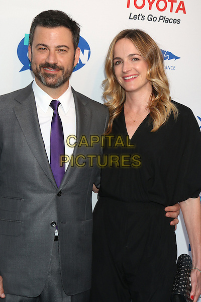 HOLLYWOOD, CA - APRIL 21: Jimmy Kimmel, Molly McNearney at the Keep It Clean Comedy Benefit For Waterkeeper Alliance at Avalon on April 21, 2016 in Hollywood, California. <br /> CAP/MPI/DE<br /> &copy;DE/MPI/Capital Pictures