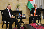 Palestinian Prime Minster, Rami Hamdallah, meets with Minister of State for Foreign Affairs Andreas Michelis, in the West bank city of Ramallah, on January 31, 2019. Photo by Prime Minister Office