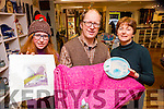 Maud and Robert Eadie and Margaret Donnellan with some of the craft that  local craft makers are selling in a pop up craft shop in the Bricín, Killarney this Christmas