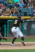 Forrestt Allday (5) of the Salt Lake Bees at bat against the Albuquerque Isotopes in Pacific Coast League action at Smith's Ballpark on August 30, 2016 in Salt Lake City, Utah. The Bees defeated the Isotopes 3-2. (Stephen Smith/Four Seam Images)