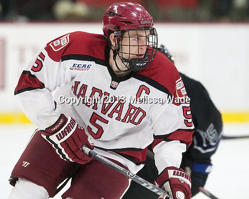 Dan Ford (Harvard - 5) - The Harvard University Crimson defeated the visiting Bentley University Falcons 3-0 on Saturday, October 26, 2013, in Harvard's season opener at Bright-Landry Hockey Center in Cambridge, Massachusetts.