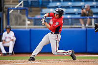 Potomac Nationals right fielder Rhett Wiseman (9) swings at a pitch during the first game of a doubleheader against the Salem Red Sox on June 11, 2018 at Haley Toyota Field in Salem, Virginia.  Potomac defeated Salem 9-4.  (Mike Janes/Four Seam Images)