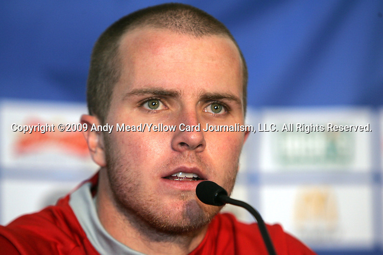 11 February 2009: Michael Bradley (USA) in the postgame press conference. The United States Men's National Team defeated the Mexico Men's National Team 2-0 at Columbus Crew Stadium in Columbus, OH in the Hexagonal, the final CONCACAF round, a FIFA 2010 South Africa World Cup Qualifier.