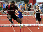Windsor's Zachary Langs, has a huge lead in the 300 hurdles during the 30th Annual Randy Smith JI Invitational Track Meet, Saturday, May 21, 2011, at Manchester High School. (Jim Michaud/Journal Inquirer).