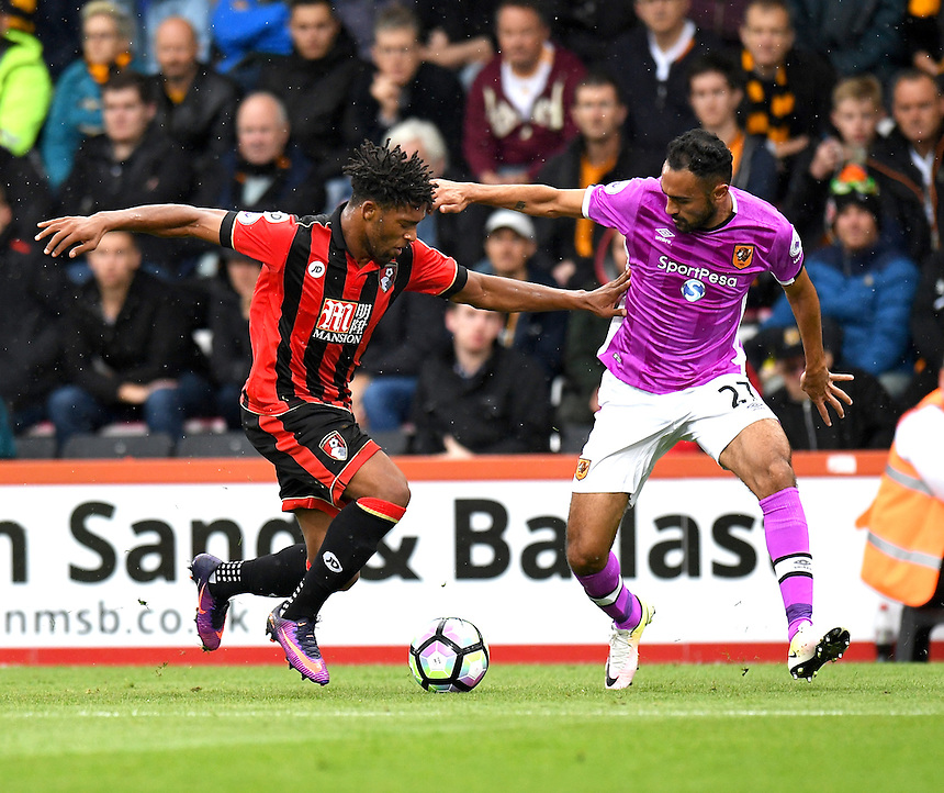 Hull City's Ahmed Elmohamady (r) battles with Bournemouth's Jordon Ibe (l)<br /> <br /> Bournemouth 6 - 1 Hull City<br /> <br /> Photographer David Horton/CameraSport<br /> <br /> The Premier League - Bournemouth v Hull City - Saturday 15th October 2016 - Vitality Stadium - Bournemouth<br /> <br /> World Copyright &copy; 2016 CameraSport. All rights reserved. 43 Linden Ave. Countesthorpe. Leicester. England. LE8 5PG - Tel: +44 (0) 116 277 4147 - admin@camerasport.com - www.camerasport.com