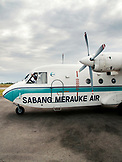 INDONESIA, Mentawai Islands, airplane at the airport on the island of Sipora