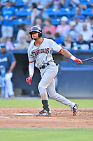 Hickory Crawdads center fielder Bubba Thompson (25) swings at a pitch during a game against the Asheville Tourists at McCormick Field on August 16, 2018 in Asheville, North Carolina. The Crawdads defeated the Tourists 3-0. (Tony Farlow/Four Seam Images)