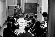 Harlem, New York City, October, 1972. Metropolitain Community Methodist Church, Madison Ave at 126th Street.  Evening class held by Minister William James.