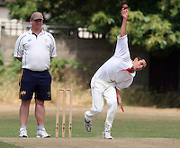 Michael Wade of Hornchurch in bowling action - Hornchurch CC 3rd XI vs Ardleigh Green CC 3rd XI, Essex Club Cricket at Fielders Sports Ground, Hornchurch - 03/07/10 - MANDATORY CREDIT: Rob Newell/TGSPHOTO - Self billing applies where appropriate - 0845 094 6026 - contact@tgsphoto.co.uk - NO UNPAID USE.