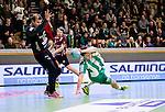Stockholm 2014-12-03 Handboll Elitserien Hammarby IF - IFK Sk&ouml;vde :  <br /> Hammarbys Johan Nilsson faller och skadar sig under matchen mellan Hammarby IF och IFK Sk&ouml;vde <br /> (Foto: Kenta J&ouml;nsson) Nyckelord:  Eriksdalshallen Hammarby HIF Bajen IFK Lugi skada skadan ont sm&auml;rta injury pain