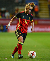 20171020 - LEUVEN , BELGIUM : Belgian Janice Cayman pictured during the female soccer game between the Belgian Red Flames and Romania , the second game in the qualificaton for the World Championship qualification round in group 6 for France 2019, Friday 20 th October 2017 at OHL Stadion Den Dreef in Leuven , Belgium. PHOTO SPORTPIX.BE | DAVID CATRY