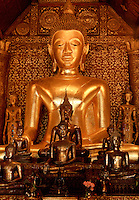 Buddhist altar in the Wat Xieng Thong Luang Prabang Laos.
