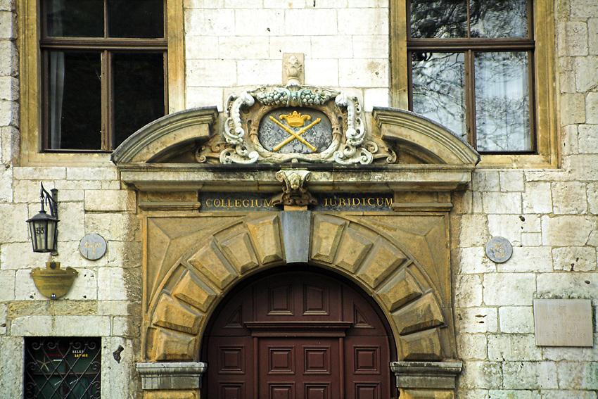 Portal Collegium Iuridicum Uniwersytetu Jagiellonskiego, Krakow<br /> Portal of the Jagiellonian University in Cracow; building of Collegium Iuridicum, Poland