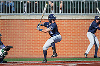 Rylan Bannon (6) of the Xavier Musketeers at bat against the Charlotte 49ers at Hayes Stadium on March 3, 2017 in Charlotte, North Carolina.  The 49ers defeated the Musketeers 2-1.  (Brian Westerholt/Four Seam Images)