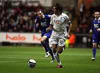 Pictured: Federico Bessone of Swansea City in action <br />