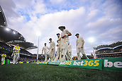 3rd December 2017, Adelaide Oval, Adelaide, Australia; The Ashes Series, Second Test, Day 2, Australia versus England; England players walking off the ground after Australia declared for 442-for 8 wickets