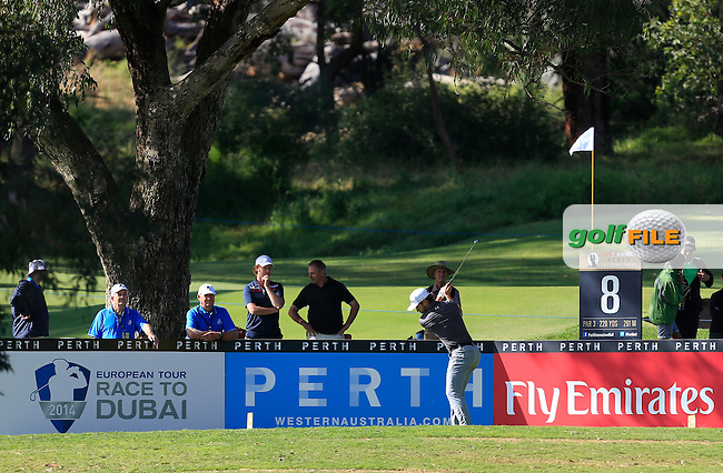 Bryden MacPherson (AUS) on the 8th tee during Round 1 of the ISPS HANDA Perth International at the Lake Karrinyup Country Club on Thursday 23rd October 2014.<br /> Picture:  Thos Caffrey / www.golffile.ie