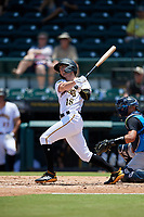 Bradenton Marauders Chris Sharpe (18) hits an RBI base hit during a Florida State League game against the Tampa Tarpons on May 26, 2019 at LECOM Park in Bradenton, Florida.  Bradenton defeated Tampa 3-1.  (Mike Janes/Four Seam Images)