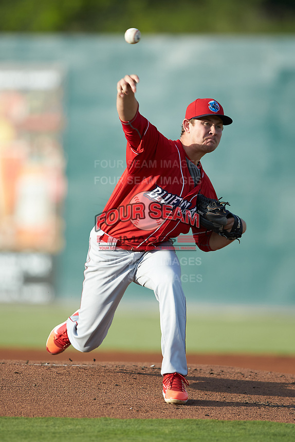 Lakewood BlueClaws starting pitcher Andrew Brown (4) delivers a pitch to the plate against the Kannapolis Intimidators at Kannapolis Intimidators Stadium on July 7, 2018 in Kannapolis, North Carolina. The Intimidators defeated the BlueClaws 4-3 in 10 innings.  (Brian Westerholt/Four Seam Images)