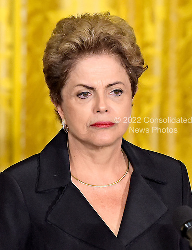 President Dilma Rousseff of Brazil holds a joint press conference withUnited States President Barack Obama (not pictured) in the East Room of the White House in Washington, D.C. on Tuesday, June 30, 2015.<br /> Credit: Ron Sachs / CNP