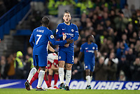 Eden Hazard of Chelsea celebrates his second goal making it 3-0 during the Premier League match between Chelsea and West Bromwich Albion at Stamford Bridge, London, England on 12 February 2018. Photo by Andy Rowland.