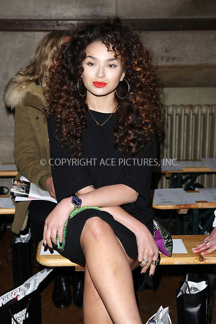 WWW.ACEPIXS.COM<br /> <br /> February 23 2015, London<br /> <br /> Ella Eyre at the Giles Front Row show during London Fashion Week Autumn/Winter 2015 on February 23 2015 in London<br /> <br /> By Line: Famous/ACE Pictures<br /> <br /> <br /> ACE Pictures, Inc.<br /> tel: 646 769 0430<br /> Email: info@acepixs.com<br /> www.acepixs.com