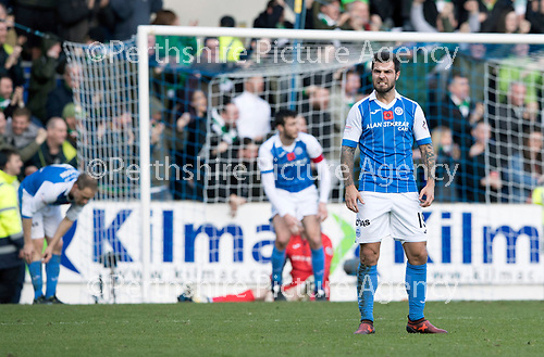 St Johnstone v Celtic&hellip;04.11.17&hellip;  McDiarmid Park&hellip;  SPFL<br />Richie Foster shows his frustration as saints concede a second goal<br />Picture by Graeme Hart. <br />Copyright Perthshire Picture Agency<br />Tel: 01738 623350  Mobile: 07990 594431